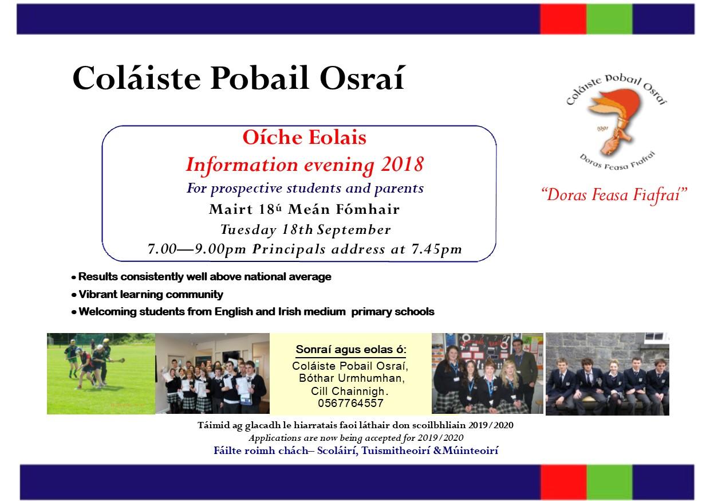Open Evening -Oiche Oscailte 18/09/18 7pm  Fáilte rómhaibh uile!