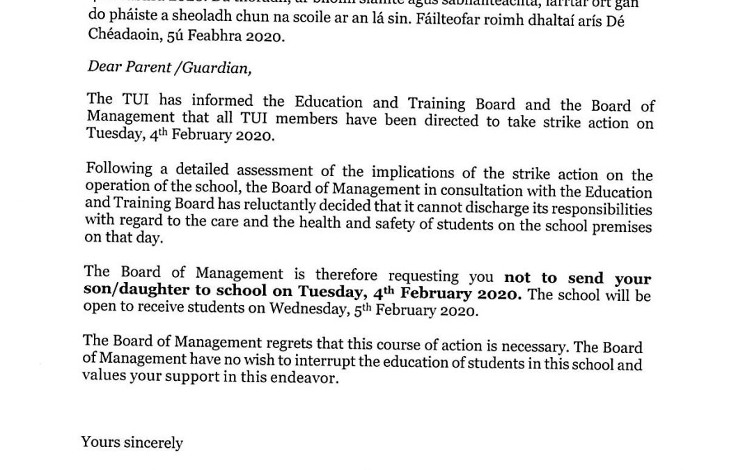 Letter re Industrial Action 4th February/ Litir faoi an stailc 4u Feabhra