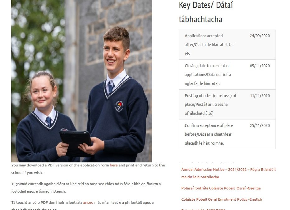 Iarratais ar líne 2021 – Enrolling now for 2021
