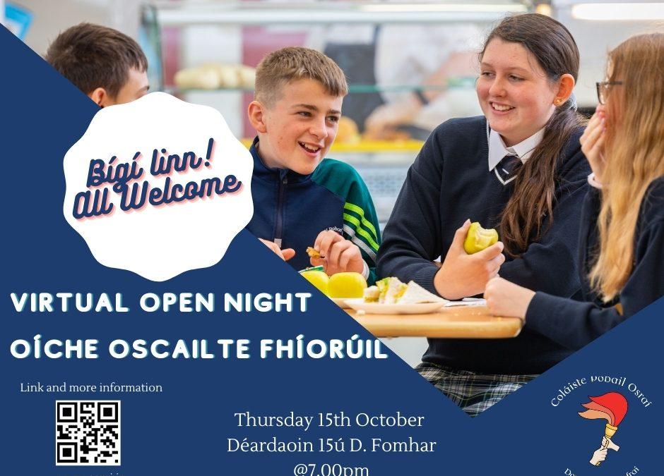 Virtual Open Night Thursday 15th October @ 7pm – Oiche Oscailte Fhíorúil