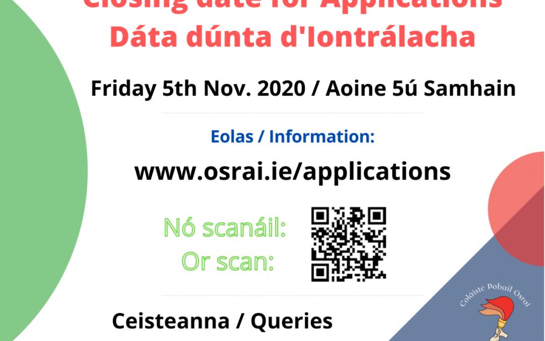 Closing date for applications / Dáta dúnta d'Iarratais